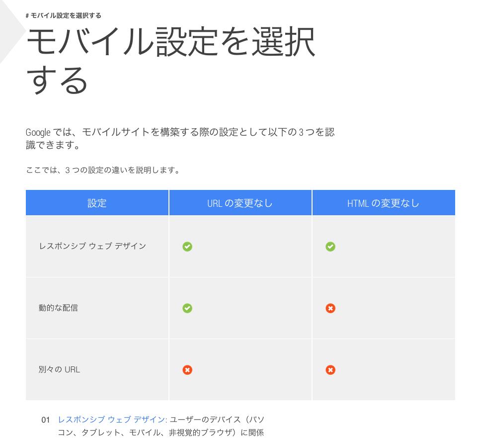 モバイル設定を選択する画面